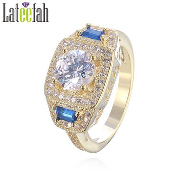 Lateefah Vintage Round Clear Cubic Zirconia Rings for Women Gold Color Three Stone Filigree Wedding Engagement Ring Anel Bague
