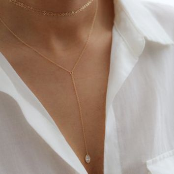 Gold Filled Lariat Necklace - CZ Y Necklace - Layering Necklace - Wedding Jewelry - Bohemian Jewelry - Bridesmaids Gift - Gift for Her