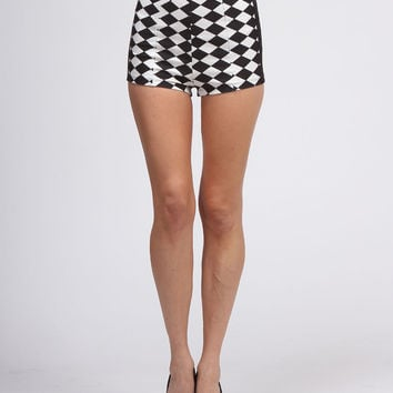 High Waisted Checkered Shorts