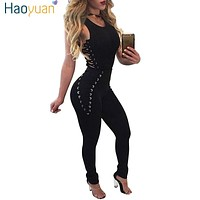 HAOYUAN Women Bandage Jumpsuits 2017 Sleeveless Bodycon One Piece Outfits Long Pants White Black Sexy Rompers Womens Jumpsuit