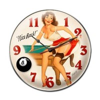 Nice Rack Vintage Metal Clock Pin Up Girl Pool Hall Billiards 14X14 SteelNot Tin