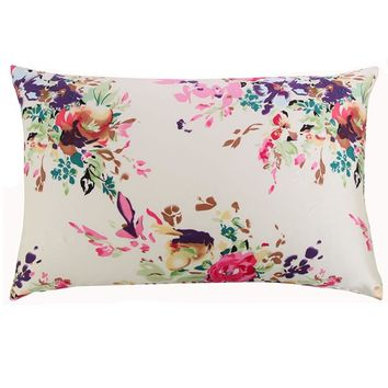 New Free 100% nature mulberry floral silk pillowcase zipper pillowcases pillow case for healthy standard queen king