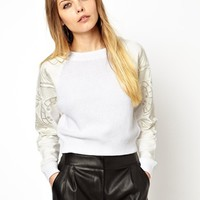 ASOS Sweater With Embroidered Sleeves - White $34.28