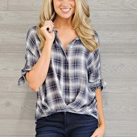 * Haven Plaid Top With Tie Sleeves : Grey/Navy