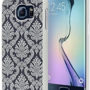 Galaxy S6 Edge Phone Case, Bastex Hard Protective White Damask Design Case Cover for Samsung Galaxy S6 Edge G931
