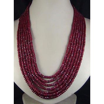 Beautiful Seven 7 Strands Natural Red Stone Faceted Beaded Necklace