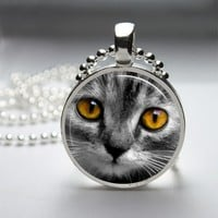 Cat Glass Tile Bezel Round Pendant Necklace