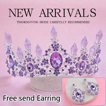 DCCKDZ2 2016 New Arrival Charming Purple Crystal Bridal crown tiaras Magnificent Rhinestone Diadem for Princess Wedding Hair Accessories