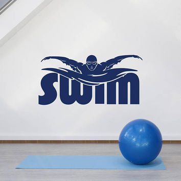 Swim Removable Vinyl Wall Decal Sticker, Swimming Pool Decal Swimmer Gifts, Sport Wall Decal Swimmig Pool Home Decor For Boys Teens Men K142