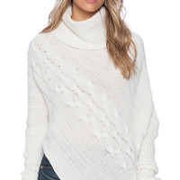 SUSS Tori Cabled Poncho in Cream