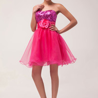 Deep Pink Sequins Flower Homecoming Dress