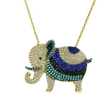 Elephant Pendant Necklace CZ Turquoise 14K Gold Plated Sterling Silver