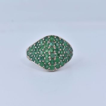 Start Your Holiday Shopping!!! Vintage Handmade Genuine Green Emerald Setting 925 Sterling Silver Gothic Ring