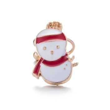 Korean Version of jewelry Santa Claus earrings cute Drip oil ear hanging Ear clip Party gifts