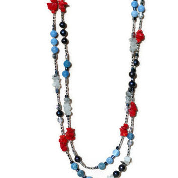 Extra Long Blue Red Navy Silver Wrap Necklace/ Semiprecious Flapper Necklace/ Multicolor Bohemian Agate Coral Pearls Quartz Necklace/ OOAK