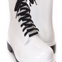 White Lace Up Jelly Boots Rubber