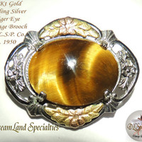 18 Kt Gold Accent on Sterling Silver Tiger Eye Brooch by L.S.P. Co.