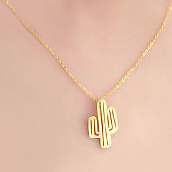 Stunning Small Cactus Necklaces / Choose color 18k Gold Silver Everyday Jewelry