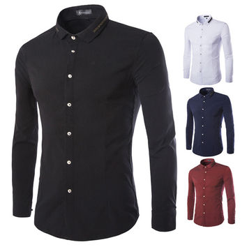 Slim Fit Men's Shirt with Zip Collar Design