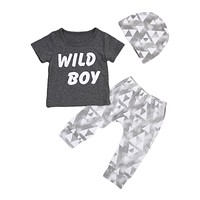 Summer Newborn Baby Boys Clothes Letter Printed Tops T-shirt +Geometric Pants Leggings Outfits Clothes