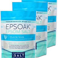 Epsoak Muscle Soak Formula 3 Pack - Relax & Soothe Body Aches & Pains with Essential Oil infused Epsom, Qty 3 x 2lbs bags