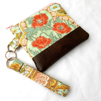 Art Nouveau Poppies Wristlet Clutch - Floral Faux Leather Zipper Pouch