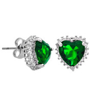 Classic Heart Shaped Emerald Green Earrings with Cubic Zirconia