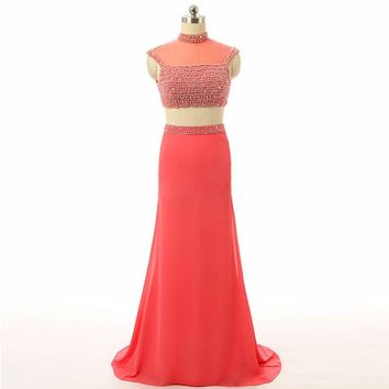 Mermaid High neck Cap sleeve Chiffon Beaded Women Special Occasion  Prom Dresses Elegant Party dress