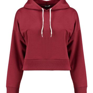 Hailey Cropped Hooded Sweat | Boohoo