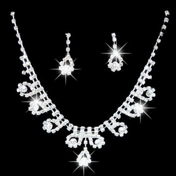 Lady Bridal Wedding Engagement Rhinestone Teardrop Necklace Earrings Jewelry Set