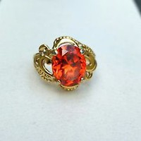 Vintage Sterling Silver 925 Vermeil UTC Orange CZ Filigree Ring, Size 7