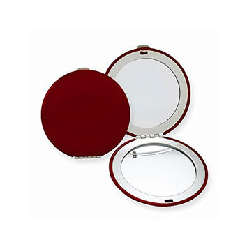 Red Finish Brushed Aluminum Compact Mirror
