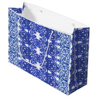 Openwork pattern in the style blue-chinoiserie large gift bag