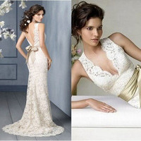 Ivory White Lace V Neck Long Wedding Dress Prom Evening Bridal Gown Beach Party