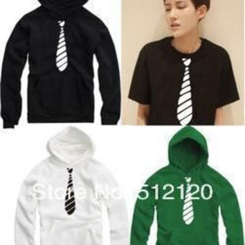 Free shipping 2015 fashion hip hop clothing Striped Bow Tie Men's Hoodie for spring/autumnwinter thicker Pullover Hooded Sweatshirt 8 colors