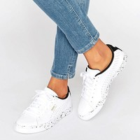 Puma White Leather Sneakers With Speckle Sole at asos.com