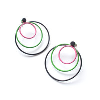 stacking hoop earrings, circle plastic enamel jewelry, powdercoat pink, green and black with black post, SALE 50% OFF