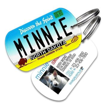 North Dakota License Plate Pet Tag