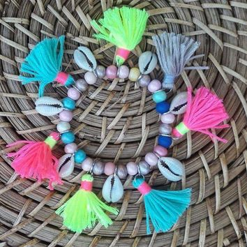 Cowrie Shell Bracelet with Tassels