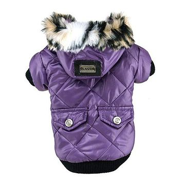 Cute Warm Coats Dog Clothing For Pet Faux Pockets Fur Trimmed Dog Puppy Hoodie Pets Jacket Costume