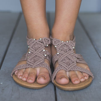 Glad You Came Taupe Crochet Gladiator Sandals
