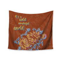 "Gukuuki ""Wonderful World"" Brown Typograpgy Wall Tapestry"