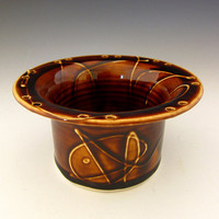 Ceramic Earring Holder Dark Amber by DirtKickerPottery on Etsy