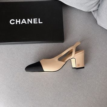 chanel hollow classic leather casual female  high 6cm flesh