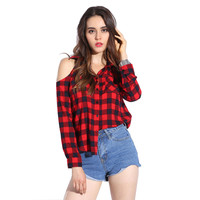 Plaid Blouse Cold Shoulder Women's Sexy Checked Shirts Red Checkered Chemise Femme Long Sleeve Ladies Tops Cage Shirt Women 2017