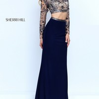 Two Piece Long Sleeve Dress with Beaded Top by Sherri Hill