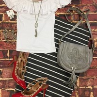 Striped Pencil Skirt: Grey