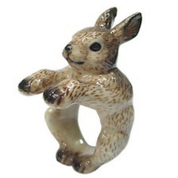 Brown Bunny Rabbit Ring Hand Painted Porcelain Ceramic Animal Ring
