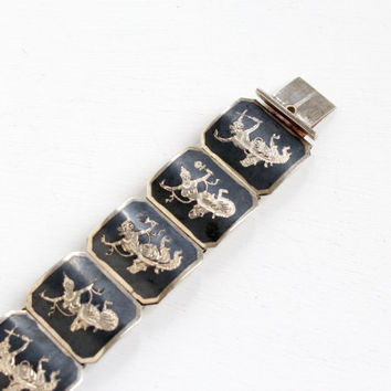 Vintage Sterling Silver Siam Bracelet - Thai Niello Octagon Panel Dark Siamese 1940s Goddess and God Mekala & Ramasoon Jewelry
