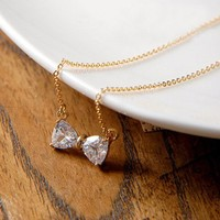 Sweet Ribbon Necklace. White Crystal Bow Gold Tone Necklace